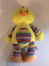 ANIMAL ADVENTURE 2014 Yellow Sweater Knit Striped Stuffed Plush Baby CHICK Duck