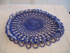 Pretty Vintage Hand Crochet Round Scalloped Purple And White Doily Or Scarve