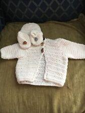 Hand Crocheted Baby Sweater Set