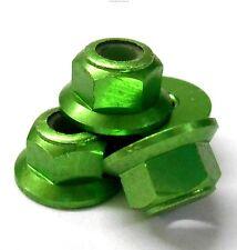 102049GR 1/10 RC Car Alloy M4 4mm Thread Nylon Lock Nuts x 4 Green 02190 Flanged