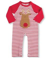 Boys MUD PIE Christmas reindeer romper 0-3 NWT cotton long striped applique 0-3M