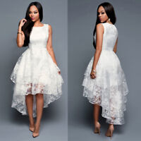 Women Formal Lace Cocktail Party Ball Gown Evening Wedding Bridesmaid Prom Dress