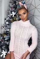 Ladies Womens Cable Knitted Polo Roll Neck Jumper Long Sleeve Mini Dress Tunic