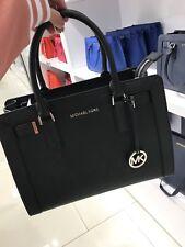 NWT Michael Kors Dillon Top Zip Satchel Medium Saffiano Leather Bag Black