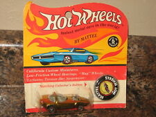 1969 Hot Wheels Mattel Vintage Redline Gold Silhouette new on card with button