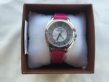 New COACH 14502092 WOMEN'S BOYFRIEND PINK SILICON RUBBER STRAP WATCH 34MM