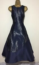 Stunning Coast Midnight Blue & Silver Special Occasion Midi Dress Size 14