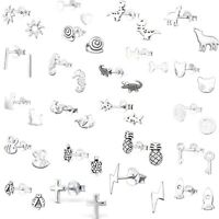 Girls Boys 925 Sterling SILVER Stud Earrings SINGLE or PAIR Unicorn Dog Cat Owl