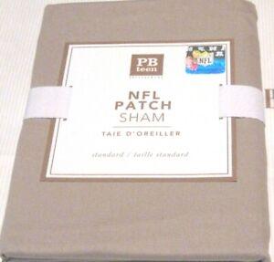 POTTERY BARN PB Teen NFL Football Solid Patch Pillow Sham Khaki NEW