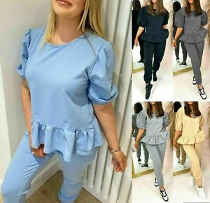 Womens Fleece Loungewear Peplum Ladies Frill Puff Sleeve 2 Piece Tracksuit Set