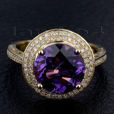 Real 14K Yellow Gold Diamond Engagement Round 10mm Amethyst Gemstone Ring