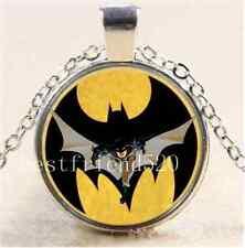 Batman Photo Cabochon Glass Tibet Silver Chain Pendant Necklace