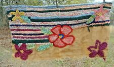 UNFINISHED Floral RAG crocheted Rug w/ Burlap Back