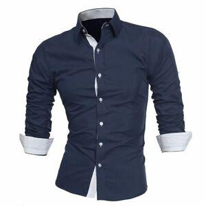 Camisas para Hombre Manga Larga de Vestir Camisa Formal Slim Fit para Hombre NEW