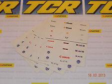 5 Hojas de Pegatinas para coches F1 TCR-también caben Tyco, Afx y todos los otros coches Ho