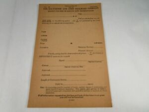 Vtg Orig 1950's Baltimore Ohio B&O Railroad Free Or Reduced Rate Request Form 9