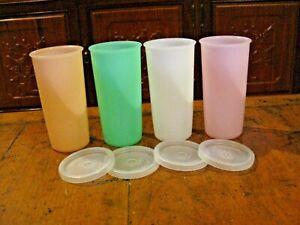 4 Vintage Tupperware 6oz Tumbler Glasses 117-16 Pastel Colors Stackable w/lids