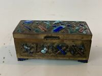 Antique Chinese Enamel Cloisonné Brass Stamp Box with Scroll Decorations