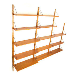 Retro Vintage Danish Teak Large Wall Book Shelves Wall System Bookcase 60s 70s