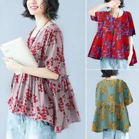 ZANZEA Womens Summer Floral Tops T Shirt Tee Short Sleeve Oversize Ladies Blouse
