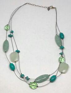 "Silpada Sterling Silver Serpentine Howlite Amazonite & Glass Necklace N2021 18"""