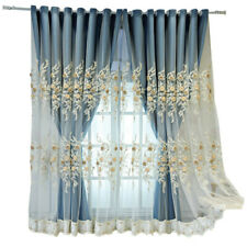 3D Floral Embroidered Sheer Curtain with Silk Cloth Curtain for Bedroom 1 Panel