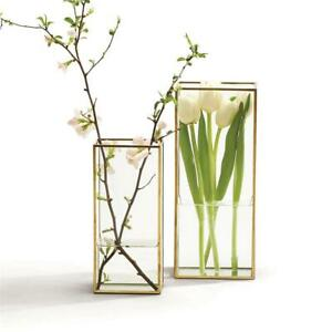 Two's Company Set of 2 Square Window Vases with Gold Metal Trim in 2 Sizes