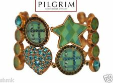PILGRIM ENAMELED GOLD BRACELET WITH RHINESTONES HEART STAR VINTAGE SIGNED