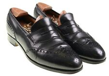 Edward Green x Paul Stuart Black Leather Wingtip Penny Loafers Dress Shoes 9.5 D