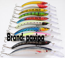 15.5cm 6-1/8inch Lot 10 Minnow Fishing Lures Floating Rattles Bass CrankBait 16g