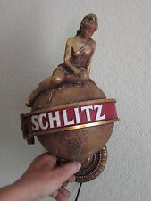 1970 SCHLITZ BEER LADY ON THE WORLD LIGHT UP GLOBE  BAR SIGN MILWAUKEE