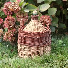 "Authentic Vintage French Green Glass Demijohn ""Bonbonne"" Wine Bottle Wicker"