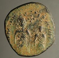 Z-344 Sassanian occupation of Syria, c.621/2 AD.  AE follis imitating Heraclius