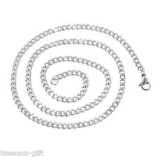 1PC 1.8mm Stainless Steel Cuban Curb Link Chain Necklace Silver Tone 52cm