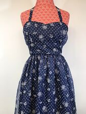Modcloth Geode Dress Small Blue White Floral Chiffon Halter or Strapless EUC