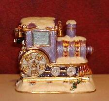 NEW Miniature CHRISTMAS TRAIN TRINKET BOX Austrian Crystals Gold Plated LP1901P