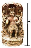 RARE 1800'S 19TH CENTURY SOUTH AMERICAN SCULPTURAL NICHE CARVING PAINTED WOOD