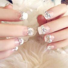 24pcs Rhinestone Salon DIY Nail tips Fake False French Acrylic Designer Nails