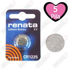 5 CR1225 Renata Batteria, Cella Singola,Pila al Litio,48 mAh 1225