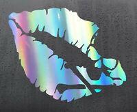 LIPS SKULL KISS Chrome holographic vinyl sticker funny car decal JDM DUB bumper