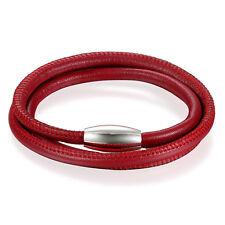Men Women Multi-layer Leather Braided Bracelet Stainless Steel Magnetic Bangle