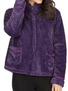 Forever Dreaming Women's Fleece Bed Jacket Waffle Zip Purple Sz. S NEW