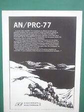 3/1978 PUB CINCINNATI ELECTRONICS POSTE RADIO AN / PRC-77 US ARMY FRENCH AD