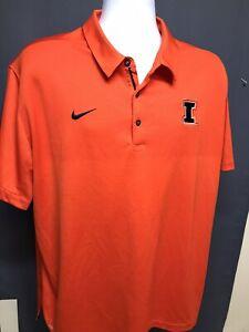 Illinois Fighting Illini NIKE DRI-FIT Orange Mens XXL Polo Shirt