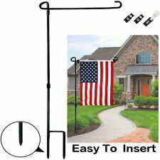 "37x18"" Wrought Iron Garden Flag Pole Holder Stand Stake Poles Banner Flagpole Us"