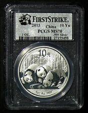 2013 MS 70 FIRST STRIKE PCGS China Panda 1oz 10 Yuan Silver Coin