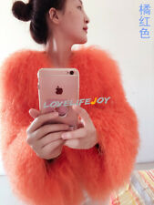 Women Real Mongolian Flurry Shaggy lamb Fur Coat Long hair Jacket Outwear Parka