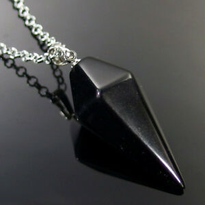 Natural Gemstone Crystal Healing Cone Hexagonal Point Pendulum Pendant energy