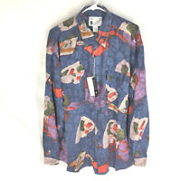 GOOUCH Mens Large Long Sleeve Shirt Silk Button Up 90s Abstract Art VTG NEW NWT