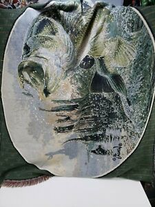 "Al Agnew Big Mouth Bass Wall Art Tapestry Throw Rug 45x54"" Man Cave Item"